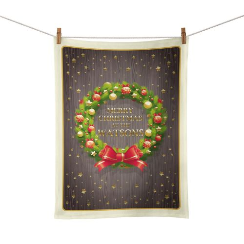 Personalised Merry Christmas Wreath Tea Towel
